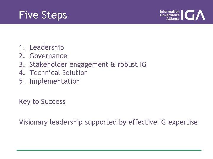 Five Steps 1. 2. 3. 4. 5. Leadership Governance Stakeholder engagement & robust IG