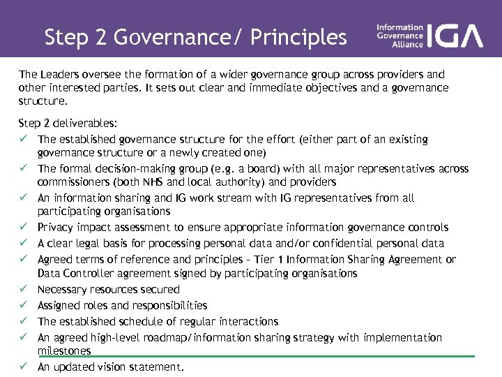Step 2 Governance/ Principles The Leaders oversee the formation of a wider governance group