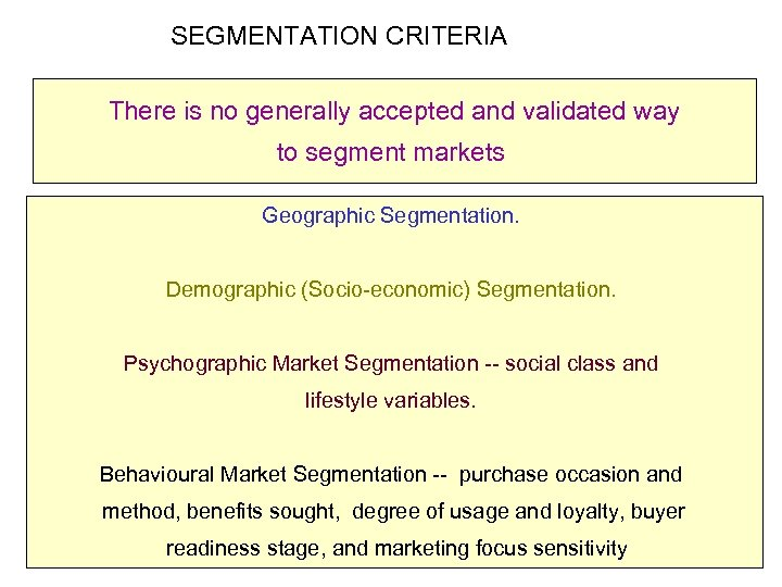SEGMENTATION CRITERIA There is no generally accepted and validated way to segment markets Geographic