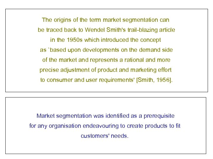 The origins of the term market segmentation can be traced back to Wendel Smith's