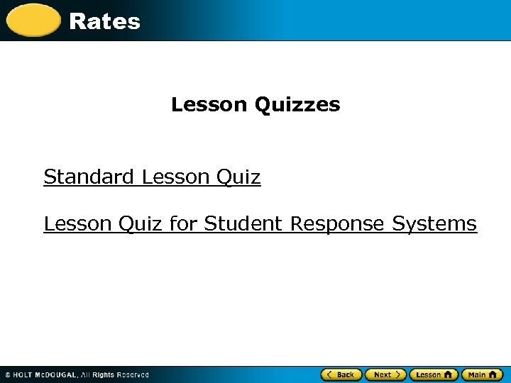 Rates Lesson Quizzes Standard Lesson Quiz for Student Response Systems