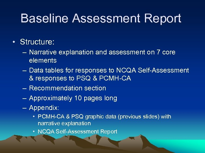 Baseline Assessment Report • Structure: – Narrative explanation and assessment on 7 core elements