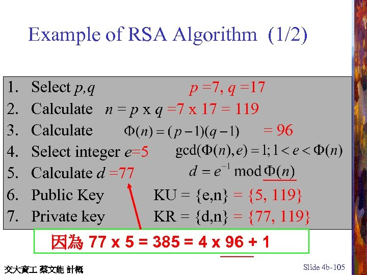 Example of RSA Algorithm (1/2) 1. 2. 3. 4. 5. 6. 7. Select p,