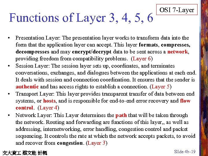 Functions of Layer 3, 4, 5, 6 OSI 7 -Layer • Presentation Layer: The