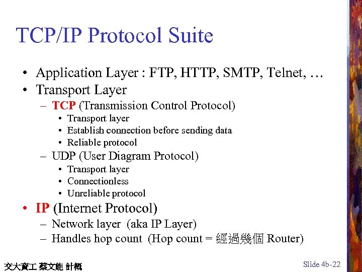 TCP/IP Protocol Suite • Application Layer : FTP, HTTP, SMTP, Telnet, … • Transport