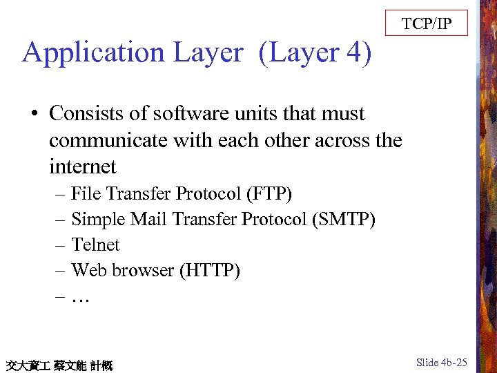 TCP/IP Application Layer (Layer 4) • Consists of software units that must communicate with