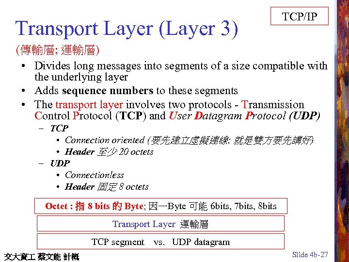 Transport Layer (Layer 3) TCP/IP (傳輸層; 運輸層) • Divides long messages into segments of