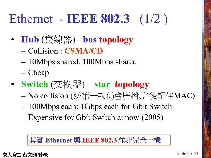 Ethernet - IEEE 802. 3 (1/2 ) • Hub (集線器)– bus topology – Collision
