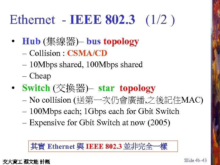 Ethernet - IEEE 802. 3 (1/2 ) • Hub (集線器)– bus topology – Collision