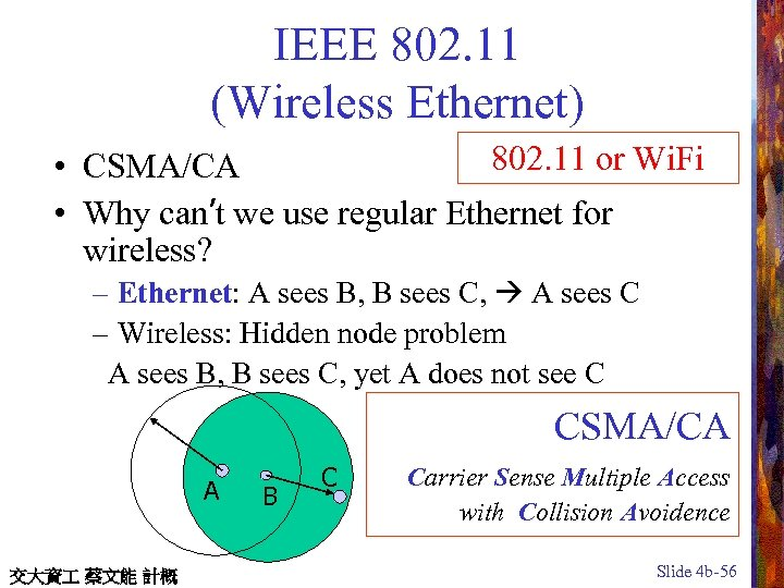 IEEE 802. 11 (Wireless Ethernet) 802. 11 or Wi. Fi • CSMA/CA • Why