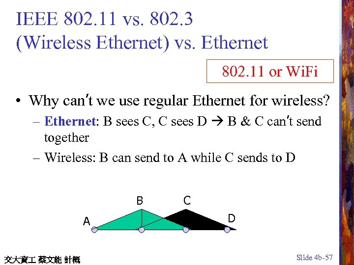 IEEE 802. 11 vs. 802. 3 (Wireless Ethernet) vs. Ethernet 802. 11 or Wi.
