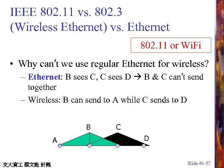 IEEE 802. 11 vs. 802. 3 (Wireless Ethernet) vs. Ethernet 802. 11 or Wi.