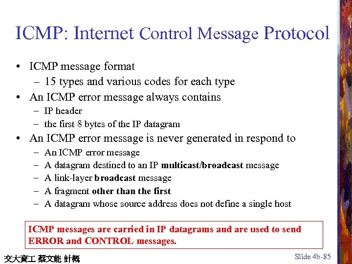 ICMP: Internet Control Message Protocol • ICMP message format – 15 types and various