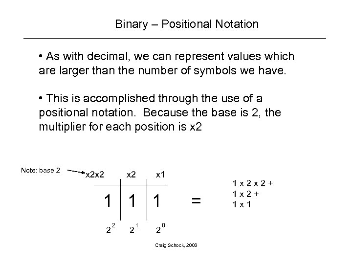 Binary – Positional Notation • As with decimal, we can represent values which are