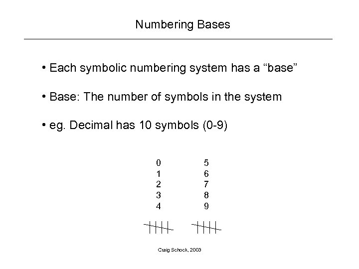 "Numbering Bases • Each symbolic numbering system has a ""base"" • Base: The number"