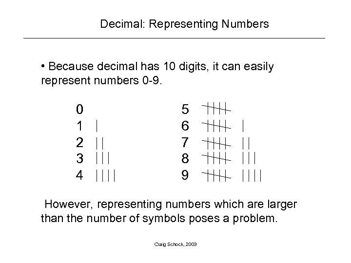 Decimal: Representing Numbers • Because decimal has 10 digits, it can easily represent numbers