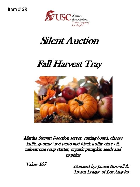 Item # 29 Silent Auction Fall Harvest Tray Martha Stewart 3 -section server, cutting