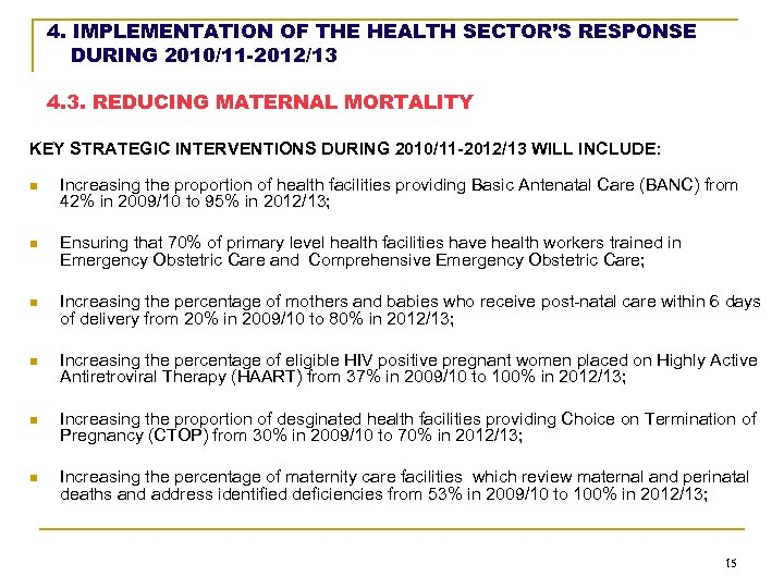 4. IMPLEMENTATION OF THE HEALTH SECTOR'S RESPONSE DURING 2010/11 -2012/13 4. 3. REDUCING MATERNAL