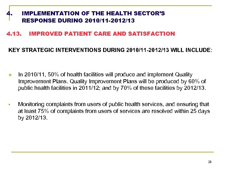 4. IMPLEMENTATION OF THE HEALTH SECTOR'S RESPONSE DURING 2010/11 -2012/13 4. 13. IMPROVED PATIENT