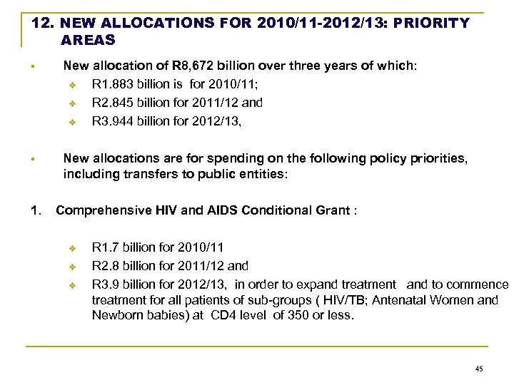 12. NEW ALLOCATIONS FOR 2010/11 -2012/13: PRIORITY AREAS § New allocation of R 8,