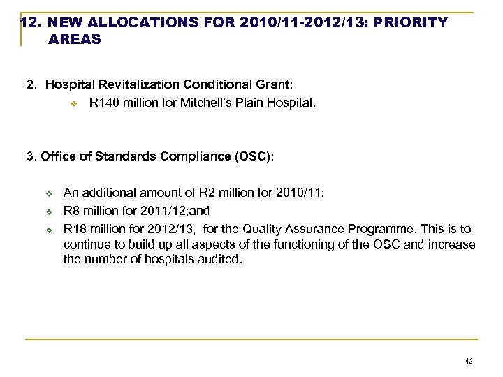 12. NEW ALLOCATIONS FOR 2010/11 -2012/13: PRIORITY AREAS 2. Hospital Revitalization Conditional Grant: v