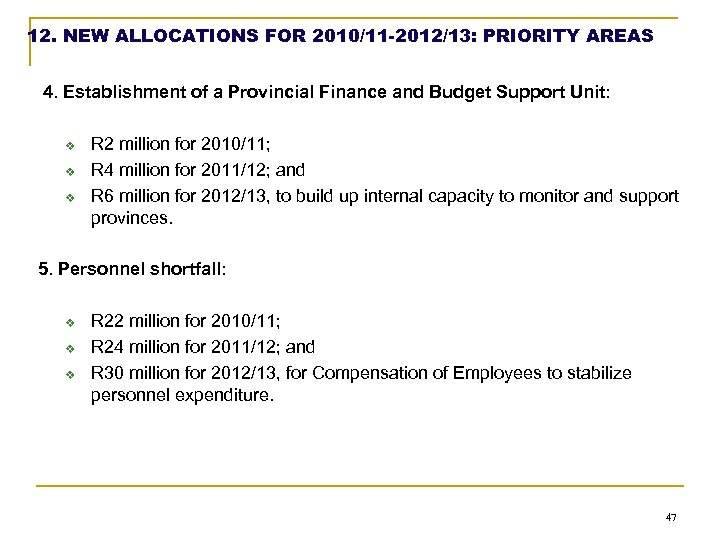 12. NEW ALLOCATIONS FOR 2010/11 -2012/13: PRIORITY AREAS 4. Establishment of a Provincial Finance