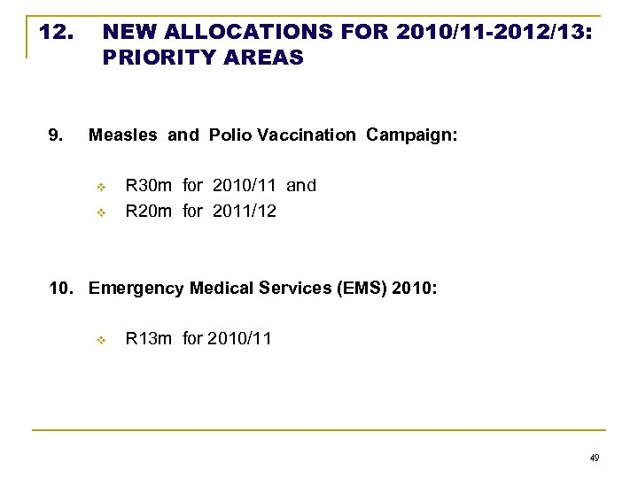 12. 9. NEW ALLOCATIONS FOR 2010/11 -2012/13: PRIORITY AREAS Measles and Polio Vaccination Campaign: