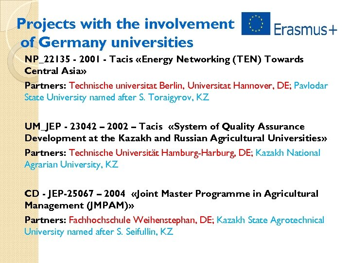 Projects with the involvement of Germany universities NP_22135 - 2001 - Tacis «Energy Networking