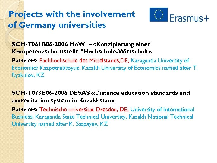 Projects with the involvement of Germany universities SCM-T 061 B 06 -2006 Ho. Wi