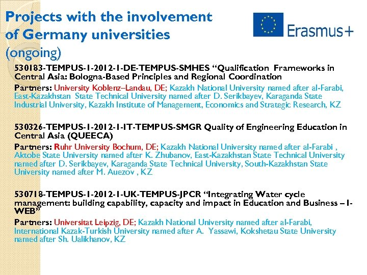 "Projects with the involvement of Germany universities (ongoing) 530183 -TEMPUS-1 -2012 -1 -DE-TEMPUS-SMHES ""Qualification"