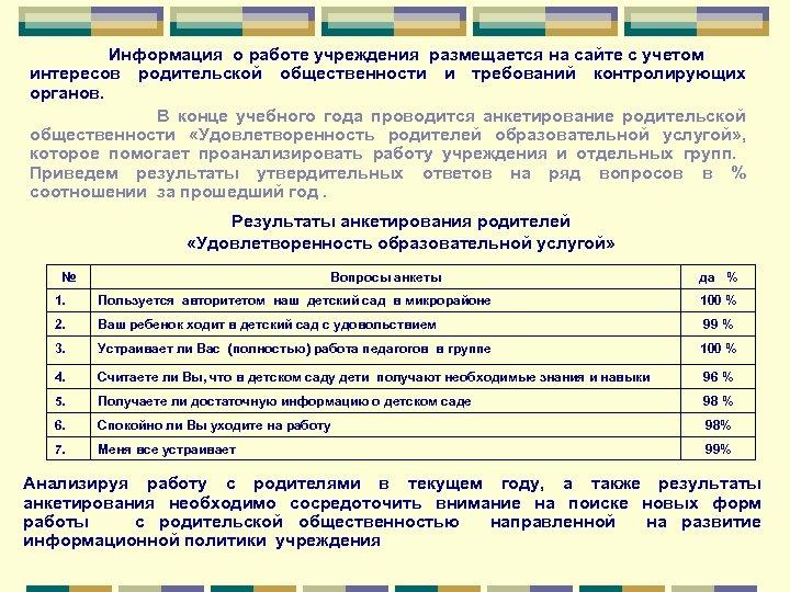 Информация о работе учреждения размещается на сайте с учетом интересов родительской общественности и требований