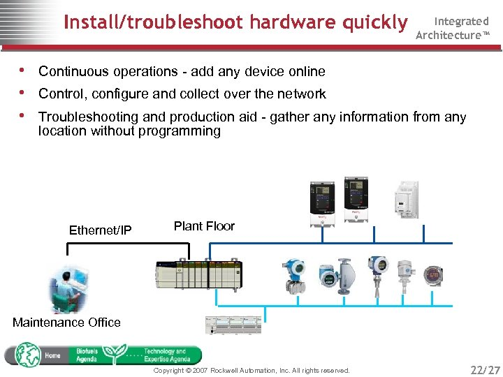 Install/troubleshoot hardware quickly Integrated Architecture™ • Continuous operations - add any device online •