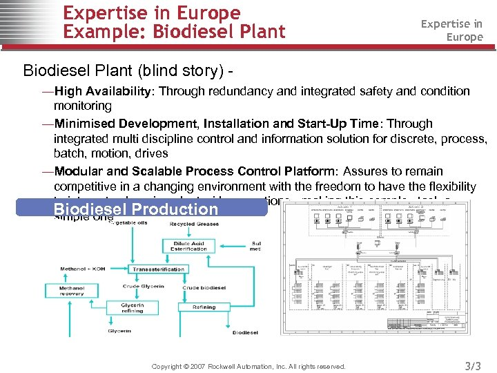Expertise in Europe Example: Biodiesel Plant Expertise in Europe Biodiesel Plant (blind story) ―High