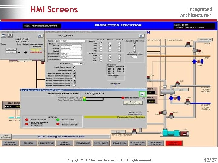 HMI Screens Copyright © 2007 Rockwell Automation, Inc. All rights reserved. Integrated Architecture™ 12/27