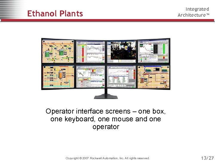 Ethanol Plants Integrated Architecture™ Operator interface screens – one box, one keyboard, one mouse