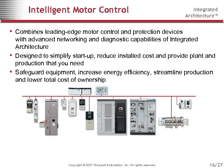 Intelligent Motor Control Integrated Architecture™ • Combines leading-edge motor control and protection devices •