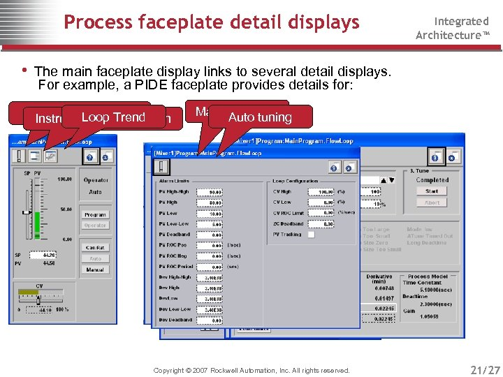 Process faceplate detail displays Integrated Architecture™ • The main faceplate display links to several