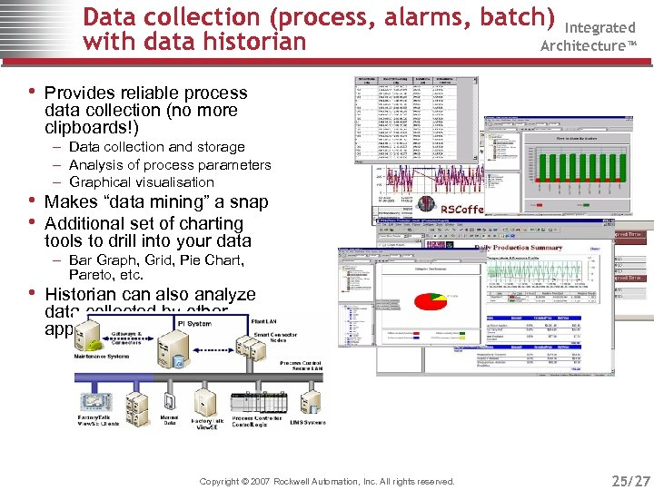 Data collection (process, alarms, batch) Integrated with data historian Architecture™ • Provides reliable process