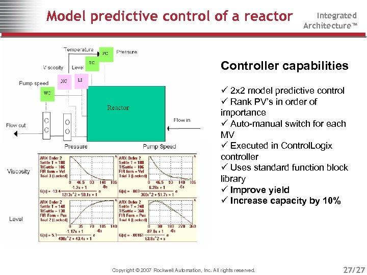 Model predictive control of a reactor Integrated Architecture™ Controller capabilities ü 2 x 2