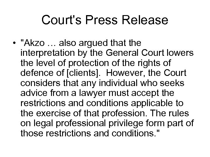 Court's Press Release •
