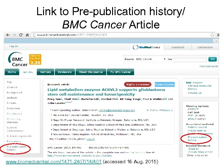 Link to Pre-publication history/ BMC Cancer Article www. biomedcentral. com/1471 -2407/14/401 (accessed 16 Aug.