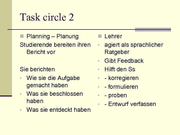 Task circle 2 n Planning – Planung n Lehrer Studierende bereiten ihren Bericht vor