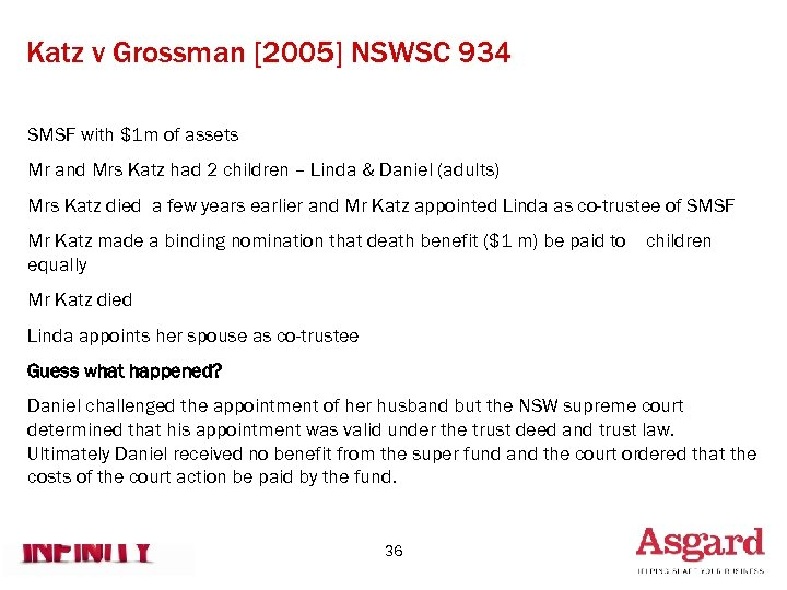 Katz v Grossman [2005] NSWSC 934 SMSF with $1 m of assets Mr and