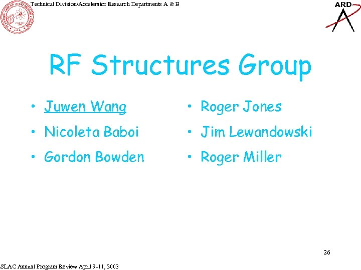 Technical Division/Accelerator Research Departments A & B RF Structures Group • Juwen Wang •