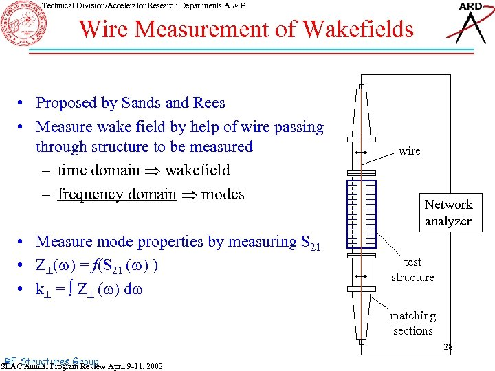 Technical Division/Accelerator Research Departments A & B Wire Measurement of Wakefields • Proposed by