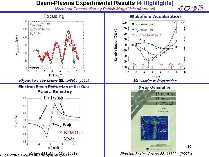 Beam-Plasma Experimental Results (4 Highlights) [Breakout Presentation by Patrick Muggli this afternoon] ARDB Focusing