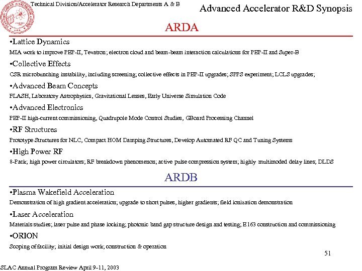 Technical Division/Accelerator Research Departments A & B Advanced Accelerator R&D Synopsis ARDA • Lattice