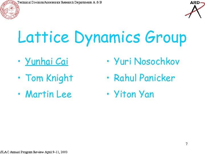 Technical Division/Accelerator Research Departments A & B Lattice Dynamics Group • Yunhai Cai •