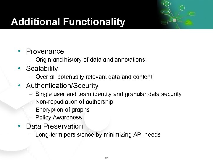 Additional Functionality • Provenance – Origin and history of data and annotations • Scalability