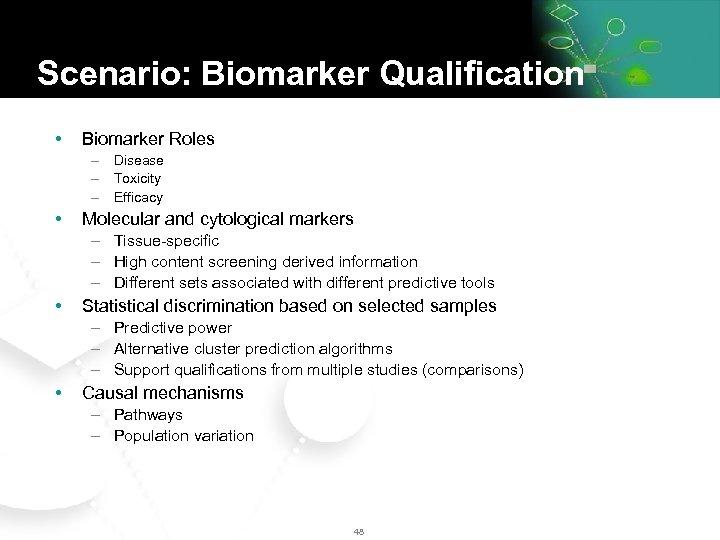 Scenario: Biomarker Qualification • Biomarker Roles – Disease – Toxicity – Efficacy • Molecular